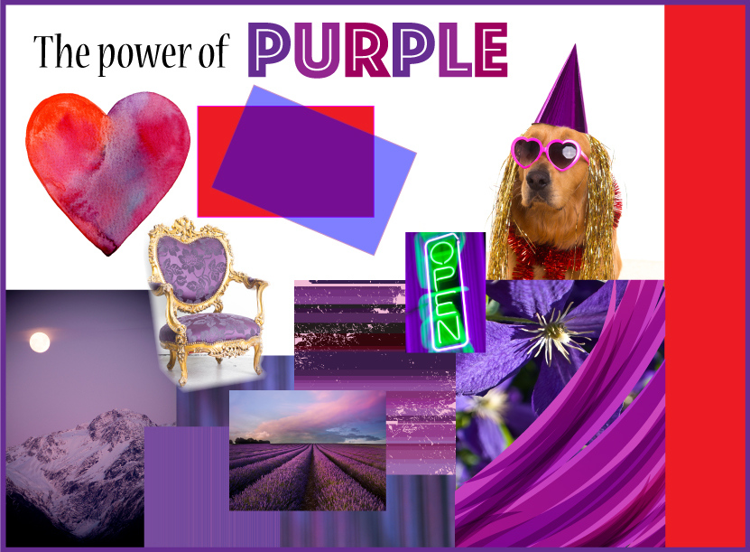 GoGo Graphics design collage of the colour purple